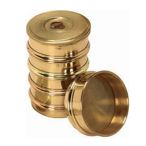 Brass frame sieves 100, 200, 300 and 450 mm dia